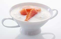 Ciotola gastronomica elegante di zuppa di color salmone Fotografie Stock Libere da Diritti