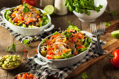 Ciotola messicana casalinga del burrito del pollo Fotografia Stock Libera da Diritti