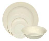 Ciotola, piattini e zolle di Melamin isolati su bianco Fotografie Stock