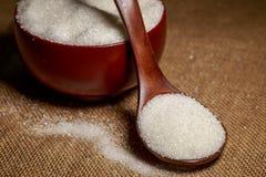 Ciotola piena di zucchero-macro Fotografia Stock Libera da Diritti