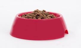 Ciotola rossa con cibo per cani Fotografia Stock Libera da Diritti