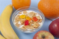 Ciotola sana della prima colazione di cibo di muesli bassi di calorie con i frutti Fotografia Stock