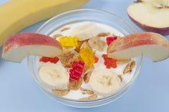 Ciotola sana della prima colazione di cibo di muesli bassi di calorie con i frutti Fotografie Stock Libere da Diritti