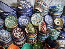 Ciotole ceramiche a Fes, Marocco Fotografia Stock Libera da Diritti
