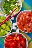 Ciotole coreane dell'alimento con le verdure Fotografie Stock