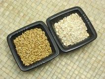Ciotole di chinaware con cereale e farina integrale immagine stock libera da diritti