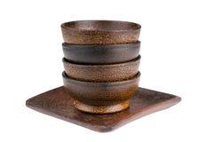 Ciotole di legno isolate Fotografia Stock