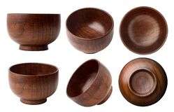 Ciotole di legno vuote fotografie stock