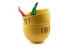 Ciotole di minestra del peperoncino rosso Immagini Stock