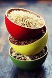 Ciotole di riso crudo Fotografia Stock