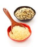 Ciotole di riso grezzo Immagini Stock Libere da Diritti
