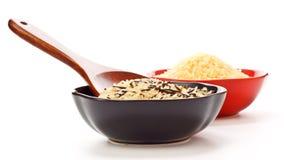 Ciotole di riso grezzo Fotografia Stock