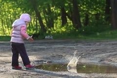 Ciottoli di lancio della ragazza del bambino nella grande foresta Immagine Stock