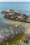 Ciottolo e spiaggia di sabbia in Agua de Pau, Azzorre portugal Fotografia Stock