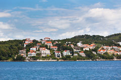Ciovo island, Trogir area, Croatia view from the sea Royalty Free Stock Photos