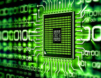 Cip. Micro chip with binary circuit Royalty Free Stock Image