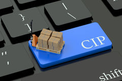 CIP deliwery terms concept on keyboard button. CIP deliwery terms concept on blue keyboard button Stock Images