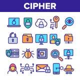 Cipher, γραμμικά διανυσματικά εικονίδια προστασίας δεδομένων καθορισμένα διανυσματική απεικόνιση