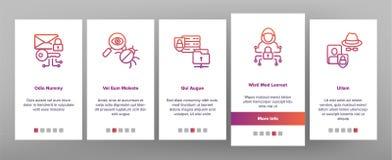 Cipher, κινητή App προστασίας δεδομένων διανυσματική οθόνη σελίδων Onboarding απεικόνιση αποθεμάτων