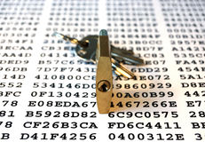 Cipher, keys and padlock Stock Image
