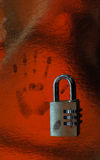 Cipher lock and handprint Royalty Free Stock Image