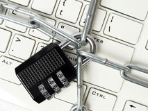 Cipher padlock on keyboard Royalty Free Stock Photos