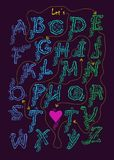 Cipher romantic message - Let is get it on. Artistic alphabet with encrypted romantic message - Let is get it on. Blue and green letters with graceful decor Royalty Free Stock Images