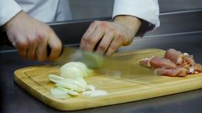 Cipolla affettata con un coltello su un bordo di legno archivi video