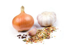 Cipolla, aglio e spezie. Fotografia Stock