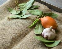 Cipolla, aglio, foglie della baia fotografie stock