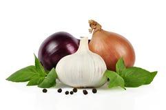 Cipolla, aglio, pepe immagini stock