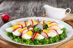 Cipolla di inverno, uova, insalata del ravanello, fine su Fotografie Stock