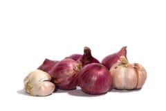 Cipolla ed aglio con su fondo bianco Fotografie Stock