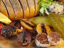 Cipolla ed aglio cotti Immagine Stock