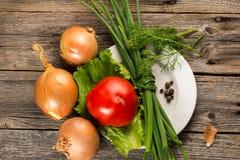Cipolla, erba cipollina e pomodoro Fotografia Stock