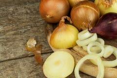 Cipolla fresca su una vecchia tavola di legno donna di vettore della preparazione della cucina dell'illustrazione dell'alimento A Fotografie Stock