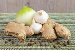 Cipolla, lampadina dell'aglio e zenzero Immagine Stock Libera da Diritti