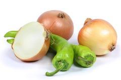 Cipolla, pepe verde Fotografia Stock Libera da Diritti