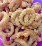 Cipolla Ring Crisps Party Food fotografia stock