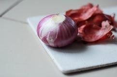Cipolla rossa fresca Fotografia Stock