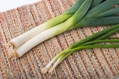 Cipolla verde e porro fotografie stock