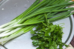 Cipolla verde fresca sul tavolo da cucina, primo piano Fotografia Stock