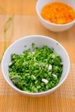 Cipolla verde tagliata Immagini Stock