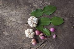 Cipolle, aglio, foglie della calce del kaffir Fotografia Stock Libera da Diritti