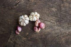 Cipolle, aglio, foglie della calce del kaffir Fotografia Stock