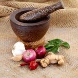 Cipolle, aglio, peperoncino rosso rosso Immagini Stock Libere da Diritti