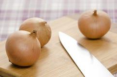 Cipolle e coltello sul bordo di taglio. Immagine Stock Libera da Diritti