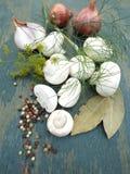 Cipolle e funghi Fotografia Stock Libera da Diritti