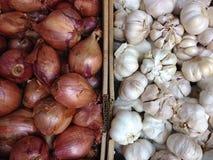 Cipolle ed aglio su esposizione Immagine Stock