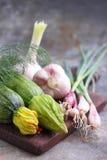 Cipolle verdi dello zucchini delle verdure Immagini Stock
